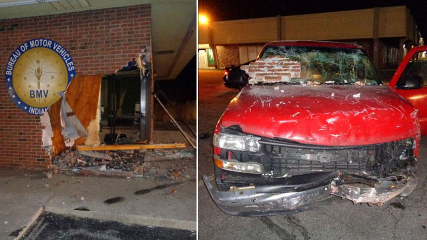 Driver facing owi charges after driving into bmv building for Laporte county building department
