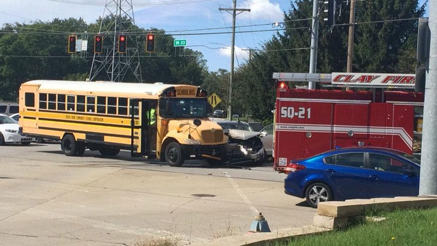 South Bend school bus involved in crash at SR23 and Douglas