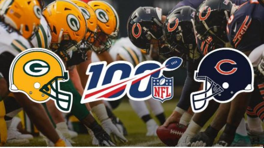 Image result for 100th season nfl Bears and Packers