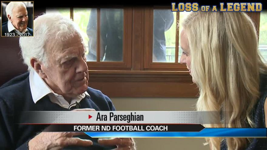 4a150e21a63 ... During interview, Coach Parseghian discussed love of Notre Dame ...