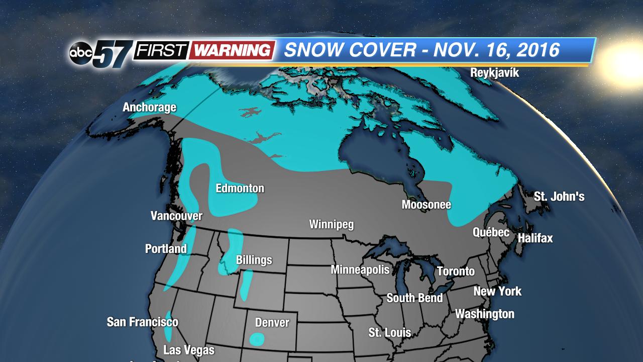 North America Snow Cover\'s Role in Michiana\'s Weather