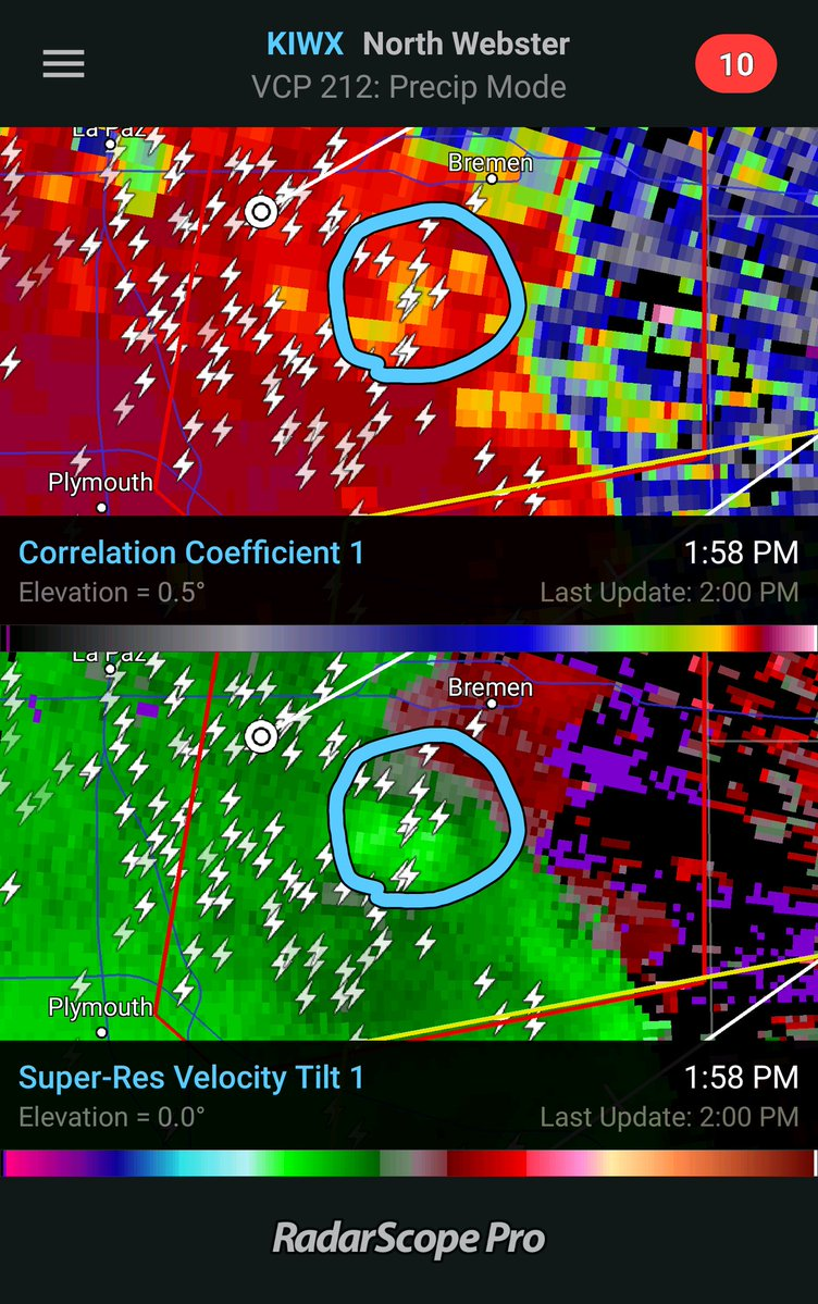 Meteorologist Alex Countee was able to capture this picture of the potential debris ball (top half) and rotation (bottom half) as they appeared on radar. by