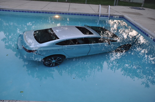 Car Ends Up In Swimming Pool At Waukesha Apartment Complex