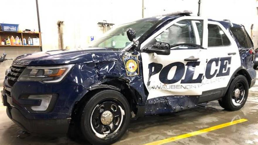 Caught on video: Ashwaubenon Public Safety patrol car hit by semi