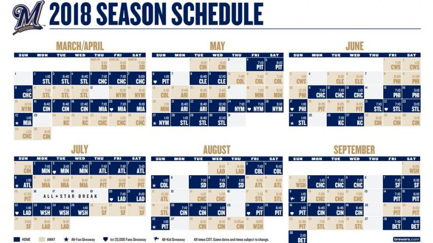 picture about Brewers Printable Schedule identified as Brewers launch 2018 plan with moments