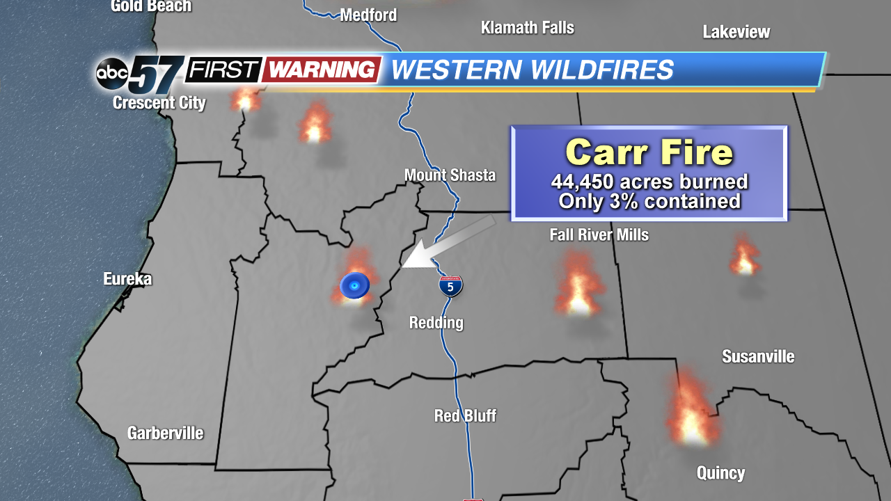 City Of Redding Carr Fire Map.Western Wildfires Could Impact Michiana