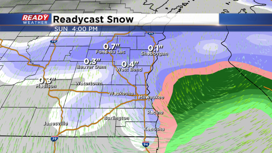 Chance of rain mixing with snow later today