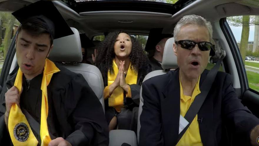 UW-Milwaukee Chancellor and students do graduation Carpool Karaoke