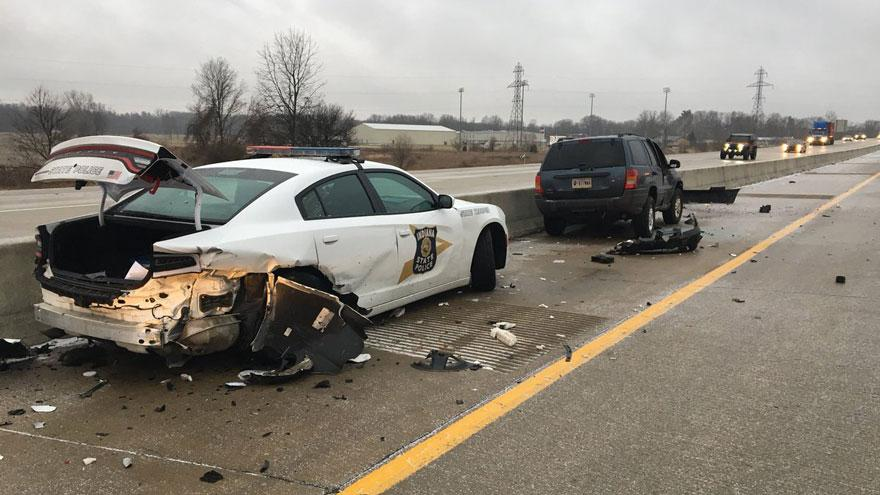 ISP patrol car hit on US 20 bypass