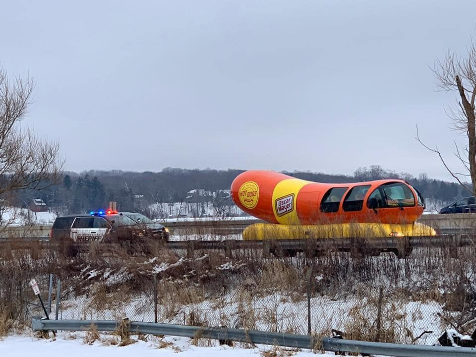 Oscar Mayer Wienermobile being pulled over