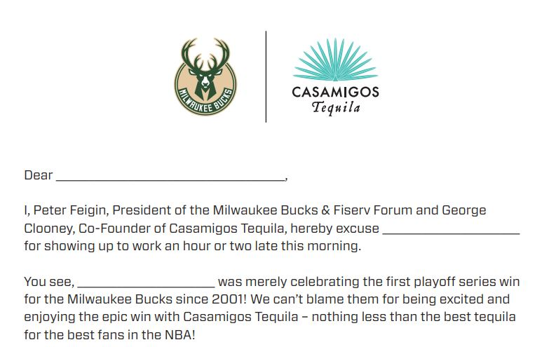 """Bucks offer """"excused absence"""" letter for fans following playoff series sweep"""