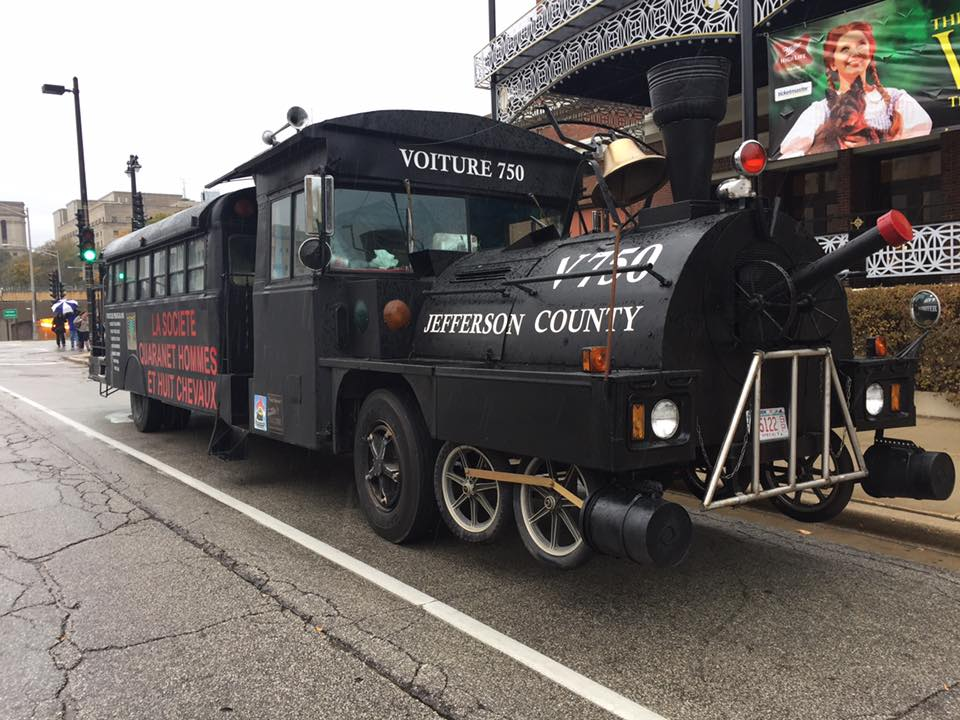 Jefferson County's 40/8 Voiture Society transformed a bus to look like train car used to take 40 men or 8 horses to front lines in France in WWI by
