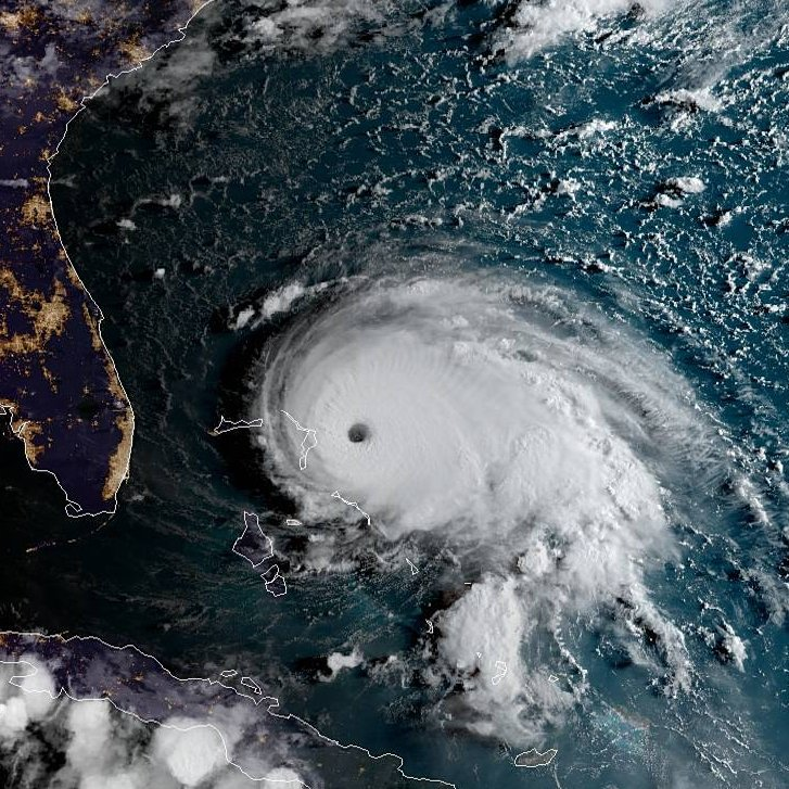 Hurricane Dorian as it became a Category 5 storm Sept. 1st, 2019. by NOAA