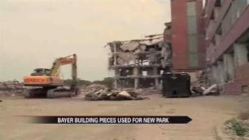 Pieces of old Bayer building to build new a park